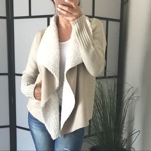 Sweaters - 🆕 Faux Suede and Sherpa Draped Open Cardigan